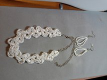 NEW TWISTED TWO TONE WHITE BEAD SILVER EXTENSION CHAIN NECKLACE & EARRINGS SET. in Quantico, Virginia