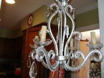 pretty silver beaded chandelier with prisms in Naperville, Illinois